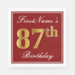 [ Thumbnail: Elegant Red, Faux Gold 87th Birthday + Custom Name Napkin ]