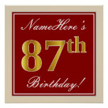 [ Thumbnail: Elegant, Red, Faux Gold 87th Birthday; Custom Name Poster ]