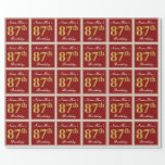 [ Thumbnail: Elegant, Red, Faux Gold 87th Birthday; Custom Name Wrapping Paper ]