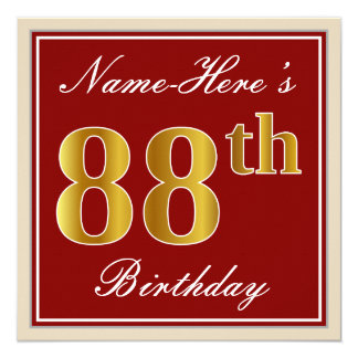 Elegant, Red, Faux Gold 88th Birthday; Custom Name Card