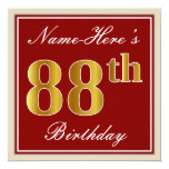 [ Thumbnail: Elegant, Red, Faux Gold 88th Birthday; Custom Name Invitation ]