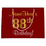 [ Thumbnail: Elegant, Red, Faux Gold 88th Birthday; Custom Name Gift Bag ]