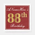 [ Thumbnail: Elegant Red, Faux Gold 88th Birthday + Custom Name Paper Napkin ]