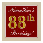 [ Thumbnail: Elegant, Red, Faux Gold 88th Birthday; Custom Name Poster ]