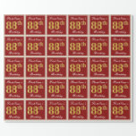 [ Thumbnail: Elegant, Red, Faux Gold 88th Birthday; Custom Name Wrapping Paper ]