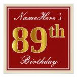 [ Thumbnail: Elegant, Red, Faux Gold 89th Birthday; Custom Name Invitation ]