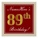 [ Thumbnail: Elegant, Red, Faux Gold 89th Birthday; Custom Name Poster ]