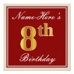 [ Thumbnail: Elegant, Red, Faux Gold 8th Birthday + Custom Name Invitation ]