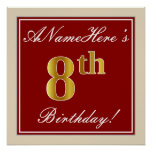 [ Thumbnail: Elegant, Red, Faux Gold 8th Birthday + Custom Name Poster ]