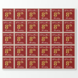 [ Thumbnail: Elegant, Red, Faux Gold 8th Birthday + Custom Name Wrapping Paper ]