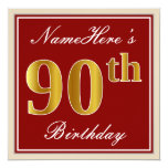 [ Thumbnail: Elegant, Red, Faux Gold 90th Birthday; Custom Name Invitation ]
