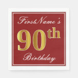 [ Thumbnail: Elegant Red, Faux Gold 90th Birthday + Custom Name Napkin ]