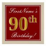[ Thumbnail: Elegant, Red, Faux Gold 90th Birthday; Custom Name Poster ]