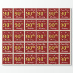 [ Thumbnail: Elegant, Red, Faux Gold 90th Birthday; Custom Name Wrapping Paper ]