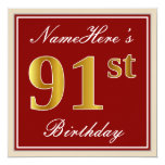[ Thumbnail: Elegant, Red, Faux Gold 91st Birthday; Custom Name Invitation ]