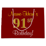[ Thumbnail: Elegant, Red, Faux Gold 91st Birthday; Custom Name Gift Bag ]