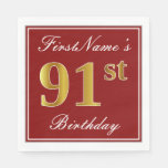 [ Thumbnail: Elegant Red, Faux Gold 91st Birthday + Custom Name Paper Napkin ]