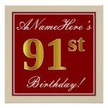 [ Thumbnail: Elegant, Red, Faux Gold 91st Birthday; Custom Name Poster ]