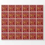 [ Thumbnail: Elegant, Red, Faux Gold 91st Birthday; Custom Name Wrapping Paper ]