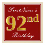 [ Thumbnail: Elegant, Red, Faux Gold 92nd Birthday; Custom Name Invitation ]