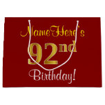 [ Thumbnail: Elegant, Red, Faux Gold 92nd Birthday; Custom Name Gift Bag ]