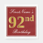 [ Thumbnail: Elegant Red, Faux Gold 92nd Birthday + Custom Name Napkin ]