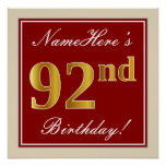 [ Thumbnail: Elegant, Red, Faux Gold 92nd Birthday; Custom Name Poster ]