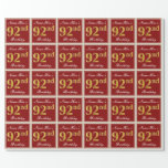 [ Thumbnail: Elegant, Red, Faux Gold 92nd Birthday; Custom Name Wrapping Paper ]