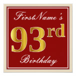 [ Thumbnail: Elegant, Red, Faux Gold 93rd Birthday; Custom Name Invitation ]