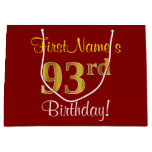 [ Thumbnail: Elegant, Red, Faux Gold 93rd Birthday; Custom Name Gift Bag ]