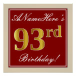 [ Thumbnail: Elegant, Red, Faux Gold 93rd Birthday; Custom Name Poster ]