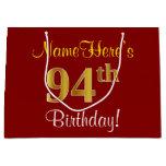 [ Thumbnail: Elegant, Red, Faux Gold 94th Birthday; Custom Name Gift Bag ]