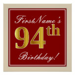 [ Thumbnail: Elegant, Red, Faux Gold 94th Birthday; Custom Name Poster ]