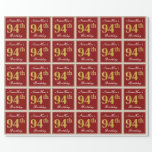 [ Thumbnail: Elegant, Red, Faux Gold 94th Birthday; Custom Name Wrapping Paper ]