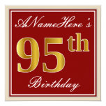 [ Thumbnail: Elegant, Red, Faux Gold 95th Birthday; Custom Name Invitation ]