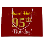 [ Thumbnail: Elegant, Red, Faux Gold 95th Birthday; Custom Name Gift Bag ]