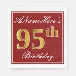[ Thumbnail: Elegant Red, Faux Gold 95th Birthday + Custom Name Napkin ]