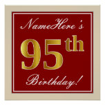 [ Thumbnail: Elegant, Red, Faux Gold 95th Birthday; Custom Name Poster ]