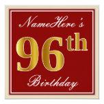 [ Thumbnail: Elegant, Red, Faux Gold 96th Birthday; Custom Name Invitation ]