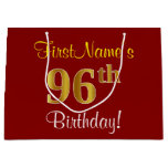 [ Thumbnail: Elegant, Red, Faux Gold 96th Birthday; Custom Name Gift Bag ]