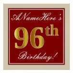 [ Thumbnail: Elegant, Red, Faux Gold 96th Birthday; Custom Name Poster ]