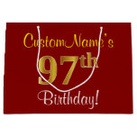 [ Thumbnail: Elegant, Red, Faux Gold 97th Birthday; Custom Name Gift Bag ]