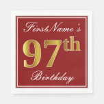 [ Thumbnail: Elegant Red, Faux Gold 97th Birthday + Custom Name Napkin ]
