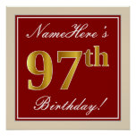 [ Thumbnail: Elegant, Red, Faux Gold 97th Birthday; Custom Name Poster ]