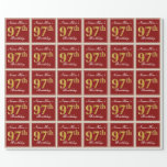 [ Thumbnail: Elegant, Red, Faux Gold 97th Birthday; Custom Name Wrapping Paper ]