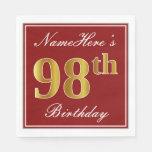 [ Thumbnail: Elegant Red, Faux Gold 98th Birthday + Custom Name Paper Napkin ]