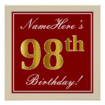 [ Thumbnail: Elegant, Red, Faux Gold 98th Birthday; Custom Name Poster ]