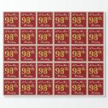 [ Thumbnail: Elegant, Red, Faux Gold 98th Birthday; Custom Name Wrapping Paper ]