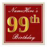 [ Thumbnail: Elegant, Red, Faux Gold 99th Birthday; Custom Name Invitation ]
