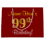 [ Thumbnail: Elegant, Red, Faux Gold 99th Birthday; Custom Name Gift Bag ]
